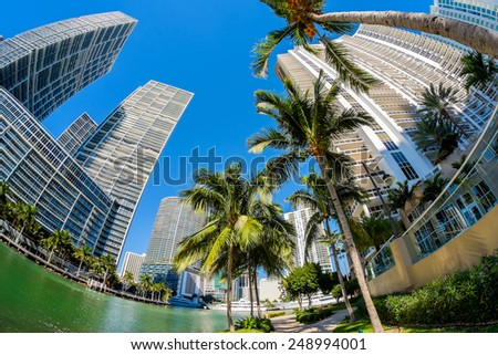 Fish eye view of the Brickell Key area in downtown Miami along Biscayne Bay.