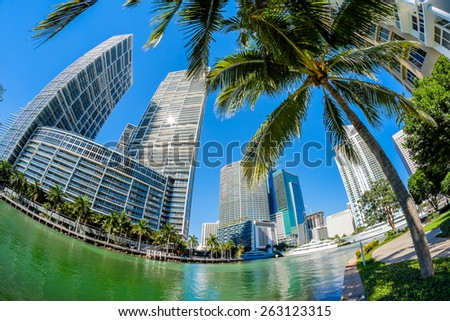 Fish eye view of the Brickell Key area in downtown Miami along Biscayne Bay. - stock photo
