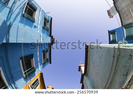 Fish-eye view of Traditional Buildings in Venice, Italy - stock photo