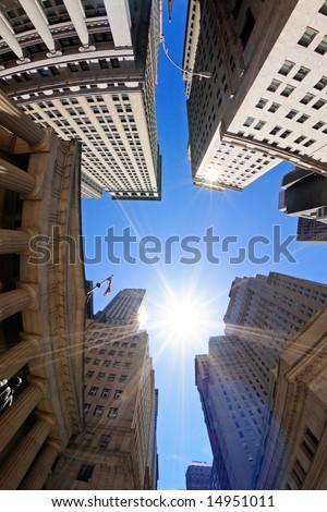 Fish-eye view of Wall Street buildings - New York City, USA - stock photo