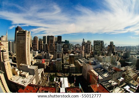 fish-eyed view of san francisco skylight - stock photo