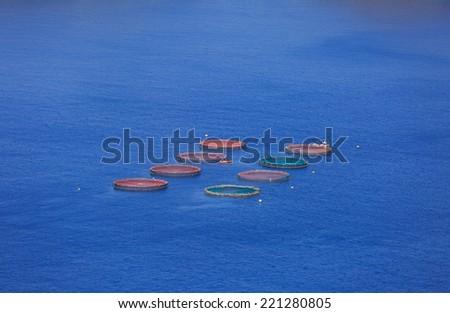 Fish farm in the Atlantic Ocean. - stock photo
