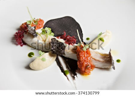 fish fillet close up on a plate with beautiful garnish - stock photo