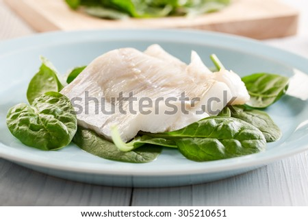 fish fillet on spinach leafs - stock photo