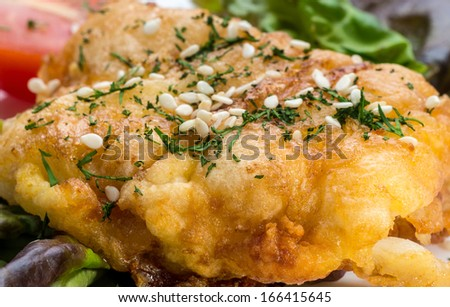 Fish fillets fried in batter  - stock photo