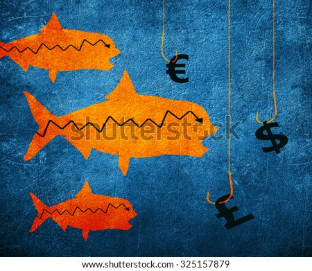fish fishing hook and money symbol digital illustration - stock photo