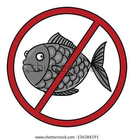Fish Free Symbol; Food Allergy Icon - stock photo
