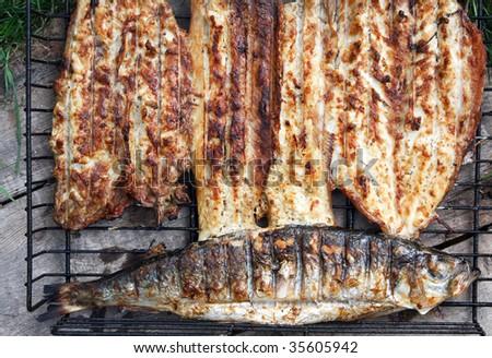 fish grill - stock photo