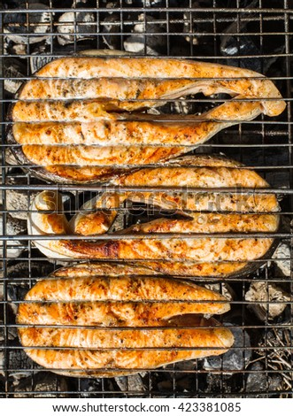fish, grilled on the fire