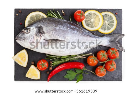 fish isolated on the white background. food concept - stock photo