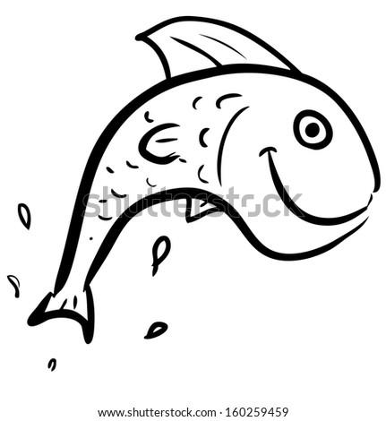 Fish jumping smiling character - stock photo