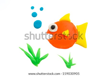 Fish modelling clay - stock photo