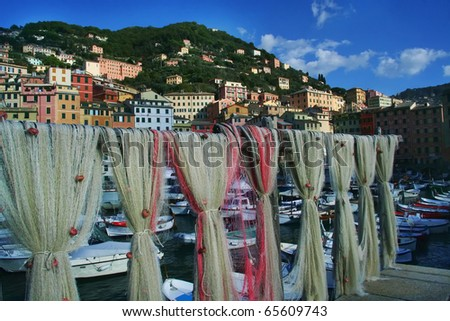 Fish nets at Camogli, Italy harbor. See more Italy images in portfolio. - stock photo