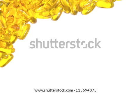 Fish oil capsule on white background - stock photo