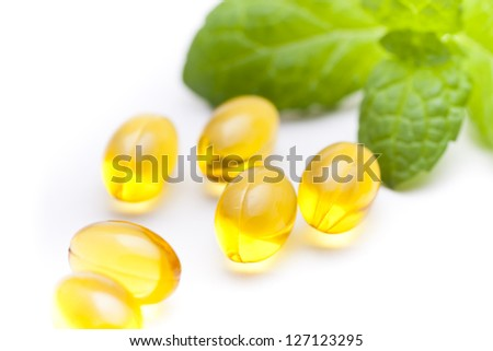 Fish oil nutritional supplement capsules - stock photo