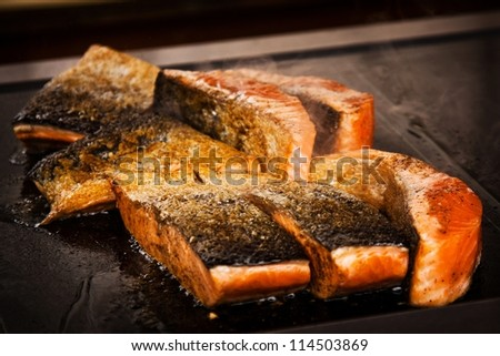 fish on the grill - stock photo