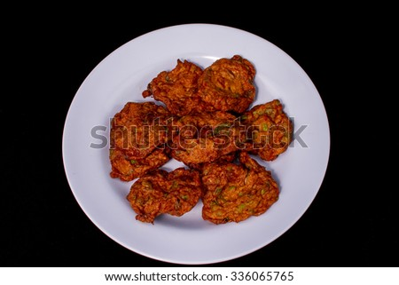 fish or prawn fritter - stock photo