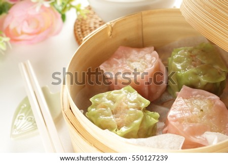fish paste and Chicken Shumai in pastel color