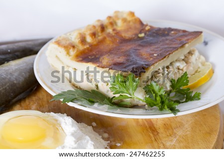 Fish pie of four fish species: coho salmon, halibut, Arctic cisco, saffron cod