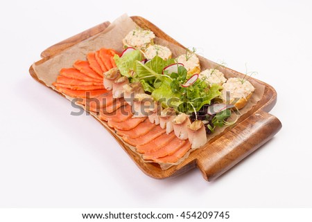 fish platter. fish snacks on a white background