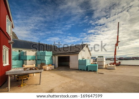 Fish processing building in Sakrisoy, Norway - stock photo