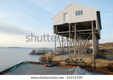 fish processing building in Sotra, Bergen - stock photo