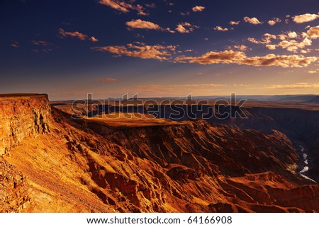 Fish River canyon the second largest canyon in the world, South Namibia - stock photo