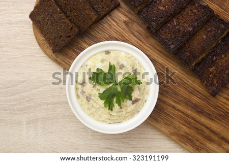 Fish salad of herring - Forshmak, with the addition of parsley as spices.
