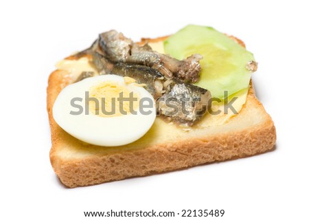 Fish sandwich isolated on the white background