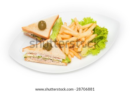 Fish sandwiches with fries on plate - stock photo