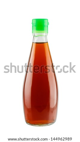 Fish sauce in glass bottle isolated on white background - stock photo