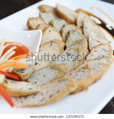 fish sausages on the dish, Thailand. - stock photo
