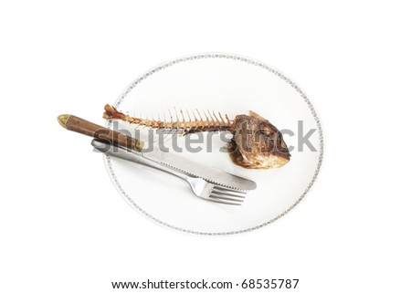 Fish skeleton on the plate - symbol for food shortage