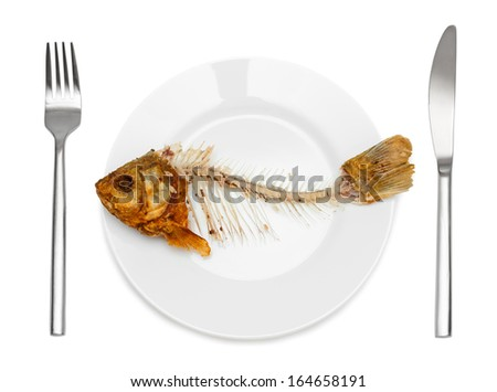 Fish Skeleton On The Plate Symbol For Food Shortage And