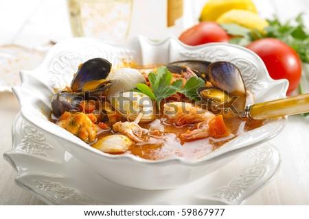 fish soup - stock photo