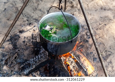 fish soup cooking in a pot on a fire in the forest by the sea - stock photo