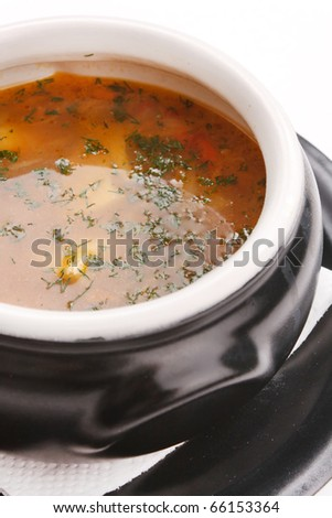fish soup in the pot - stock photo