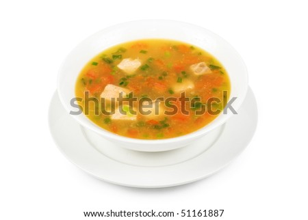 Fish soup with pikeperch and salmon isolated on a white - stock photo