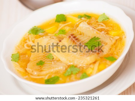Fish soup with potato and noodles - stock photo