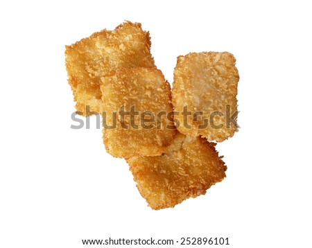 fish sticks isolated on white background - stock photo