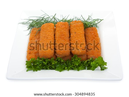Fish sticks with parsley and dill on a white plate. Isolated on white background. - stock photo