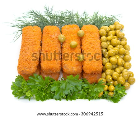Fish sticks with parsley, dill and canned green peas on a white plate. Isolated on white background, close-up. - stock photo