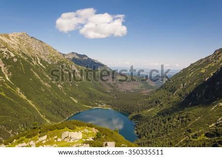 Fish Stream (Rybi Potok) Valley and Marine Eye Lake (Morskie Oko)   - stock photo