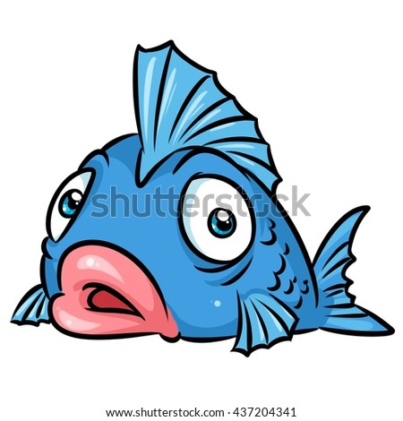 Fish surprise cartoon illustration isolated image animal character