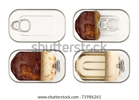 Fish tin can on an isolated background. - stock photo