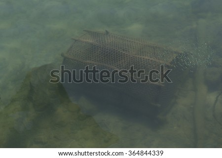 fish trap under the sea,fishery in sea,trap model,fishing net - stock photo