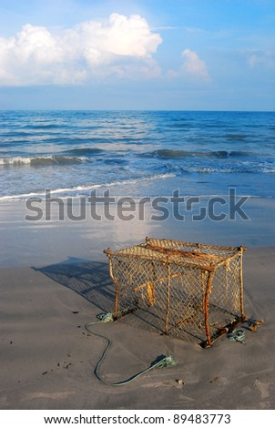fish traps on the beach in Thailand - stock photo