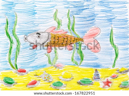 fish under water. child sketch drawing