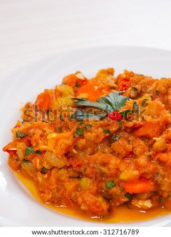 Fish with mixed vegetables - stock photo