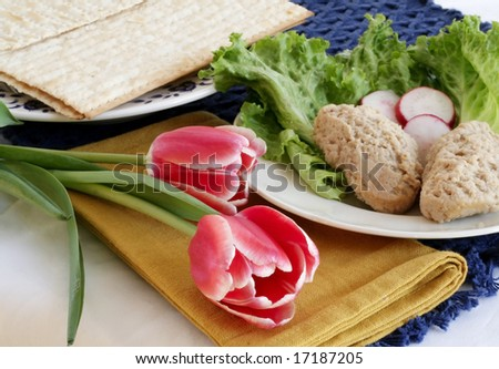 Fish with radishes and matzo for jewish holiday - stock photo